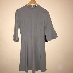 Zara NWT Gray fitted dress high neck cute sleeve S